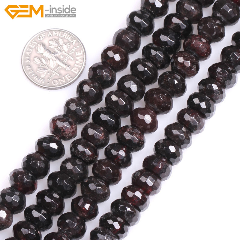 Gem-inside Natural Faceted Red Garnet Rondelle Spacer Stone Beads For Jewelry Making 15inches DIY Jewellery