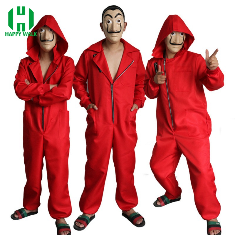 Salvador Dali Movie Costume Money Heist The House of Paper La Casa De Papel Adult Cosplay Halloween Party Costume with Face Mask
