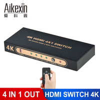 Aikexin HDMI Splitter 4 Port HDMI Switch Switcher HDMI1.4 4Kx2K 1080P 4 Input 1 Output HDMI Adapter Hub for XBOX 360 PS3 PS4