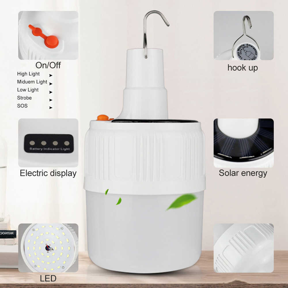 Wiederaufladbare Led-lampe Lampe USB Solar Ladung Tragbare Camping Nacht Markt Licht 42LED Eingebaute 18650 Batterie Notfall Licht