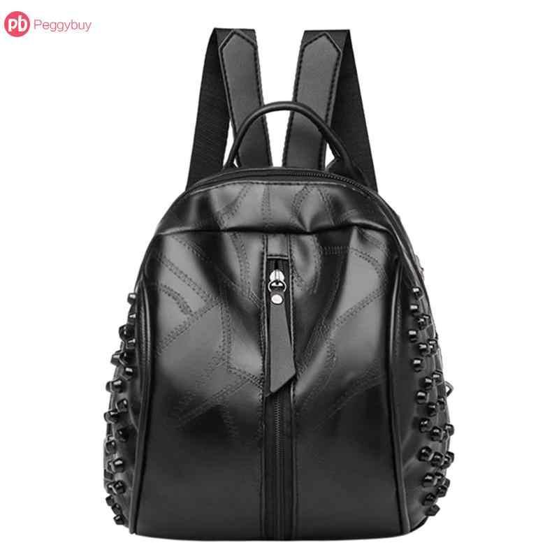 ea265c8b923 Small Women Backpacks Rivet Zipper Pu Leather Student Backpack Women ...