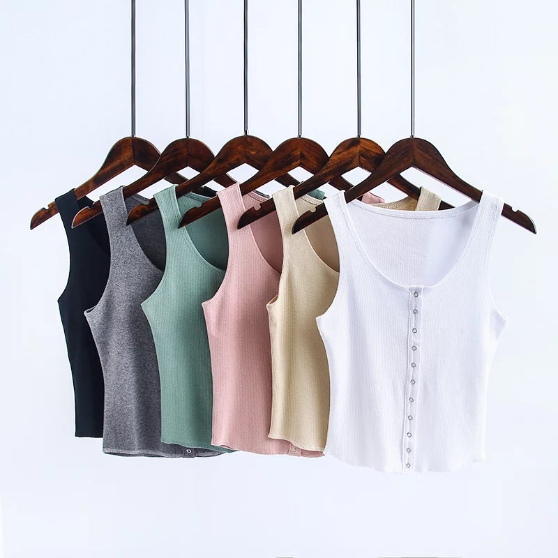 Ellacey 2018 Summer Sexy Street Fashion Crop Tank Tops Women Vest Cotton Camis Single-breasted Camisole Short Sexy Slim Shirt