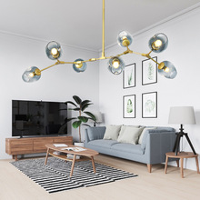 Vintage magia Luz elegante bola Loft Industrial tabla lámparas colgantes de oro negro árbol moderno clásico colgante LED lámpara