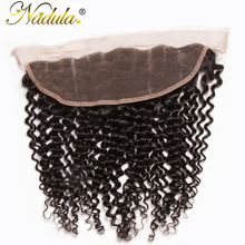 Nadula Hair 10-20INCH Free Part Malaysian Curly Hair Closure Piece 13×4 Lace Frontal Non Remy Hair Weave Medium Brown