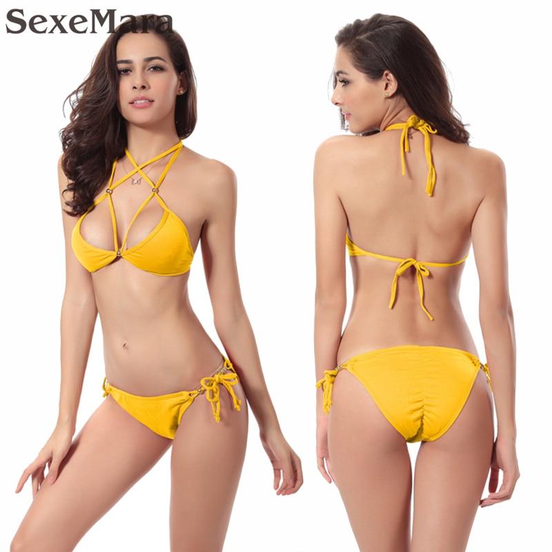 купить Scrunch Butt Bikini Fully Lined Bathing Suit Women Beaded Top and Bottom 2017 hot Female Push Up Victoria Bikini S-XL недорого