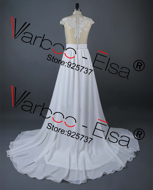 Vintage Chiffon Beach Wedding Dress Summer White Cap Sleeves V ...