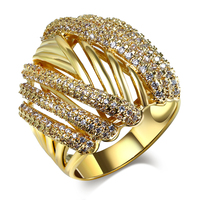 Women Rings 18k Gold And Rhodium Plated With White CZ Ring Fashion Jewelry Free Shipment Full
