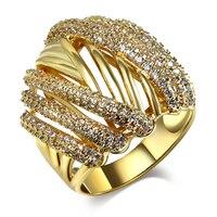 Kobiety Pierścienie złota i rodowane z białym CZ Pierścień biżuteria Darmowe przesyłki w Pełnym rozmiarze #5, #6, #7, #8, #9, #10