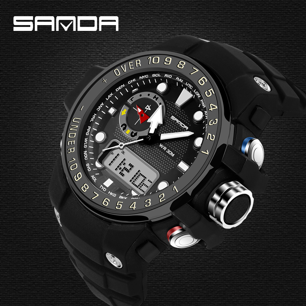 SANDA mens watches top brand luxury Analog-Digital Wristwatches Fashion LED Sports Men's Watch Men relogio masculino Male Clock