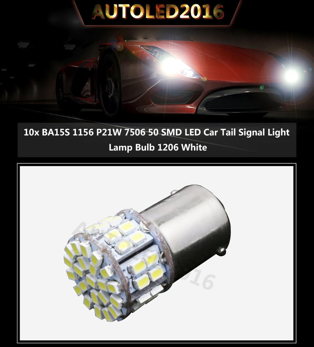 10 pcs Super Bright BA15S 1156 P21W 50SMD 16 12V 30 50 Led SMD Car Brake Light Turn Signals Rear Parking Reverse Lamps 1