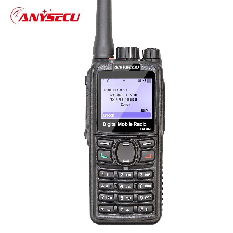 cable Dual Mode TDMA digital Analog DMR Radio Anysecu DM 960 UHF 3000mAh Compatible with