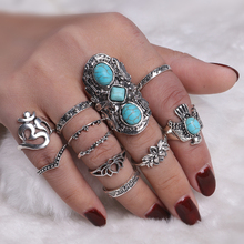 Фотография 2017 Fashion Bohemia Midi Rings Sets For Women Retro Antique Silver Color Opals Turquoises Knuckle Ring Bagues Femme