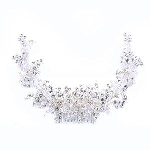Image 5 - GETNOIVAS Luxury Tiara Shiny Crystal Pearl Beads Hair Comb Crown Bride Hairband Headband Bridal Wedding Hair Accessory SL
