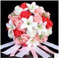 2015 nuevo ramo de la boda de dama de honor nupcial blanco / rosa / rojo / púrpura colorida flor rosa Artificial novia ramos buque de noiva