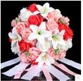 2015New Wedding Bouquet Bridal Bridesmaid White/Pink/Red/Purple Colorful Artificial Flower Rose Bride Bouquets buque de noiva