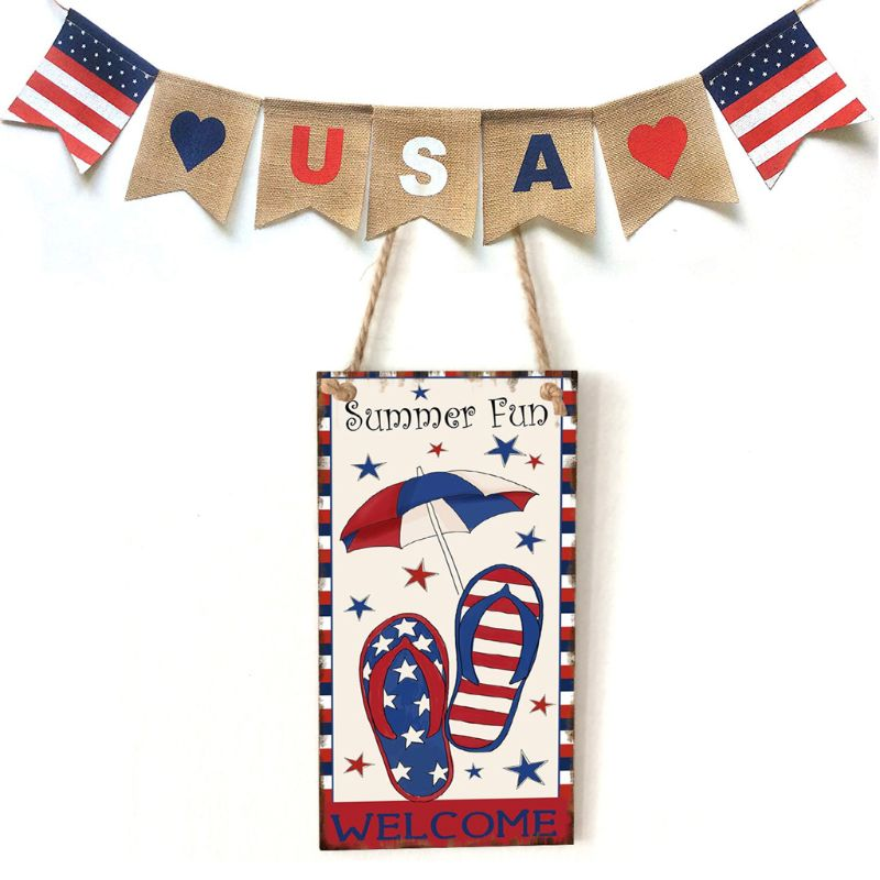 Image 5 - Vintage Wooden Hanging Plaque Welcome Summer Fun Sign Board Wall Door Home Decoration Independence Day Party Gift-in Plaques & Signs from Home & Garden