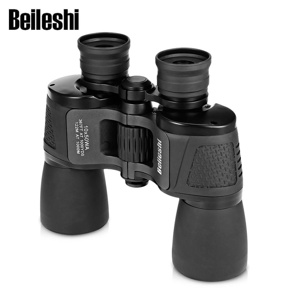 Beileshi Binocular 10X50 HD Visión-amplio ángulo de prisma de Binocular al aire libre profesional caza telescopio para viajes de concierto