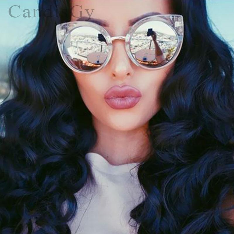 cb25bf7e4901 Cool Clear Frame Cat eye Cateye Big Size Sun Glasses Fashion Vintage ...