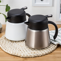 Vacuum Flasks Stainless Steel Thermal Insulation Pot European Style 800ml Thermos Bottles Office Coffee Hot Water Jug White