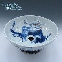 세라믹 씻어 분지 씻어 분지 파란색과 흰색 세라믹 분지