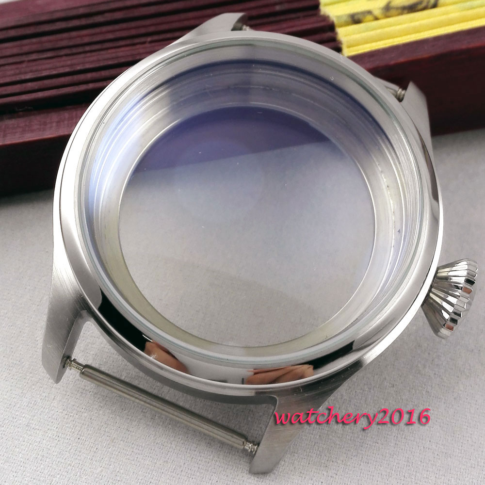 47mm fit parnis 6497 6498 movement full stainless steel case watch case 46mm matte silver gray stainless steel watch case fit 6498 6497 movement watch part case with mineral crystal glass
