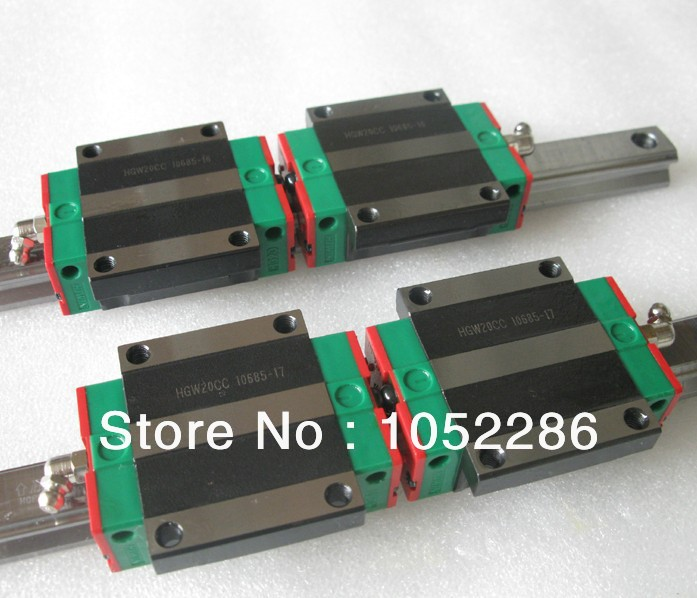 цены  2pcs 100% brand new Hiwin linear rail HGR20 L1500mm+4pcs HGW20CA flanged block