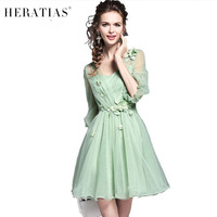 Princess Lantern Sleeve Elegant Mesh See Through Party Dresses Sweet V Neck Slim Waist Ball Gown