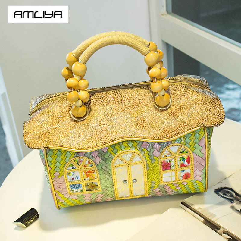 Hot Beautiful Knitting Women Handbags Trunk Lady Totes Dream Lovely pinkycolor Creative styling house Top Hand Bags beach bag пена top house д плит свч печей 500мл