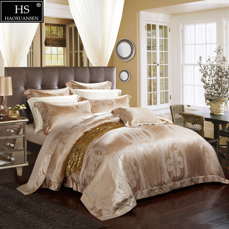 HS Luxury Yarn Dyed 19 Momme Mulberry Silk 4pcs Bedding Sets European Style Jacquard Satin Bedding Set King Size Home Textiles
