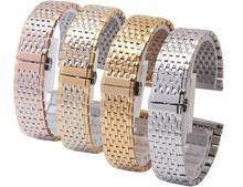 Correas de reloj 13 mm 18 mm para mujer para hombre de plata Metal correa correa pulseras doble empuje reloj de despliegue hebilla