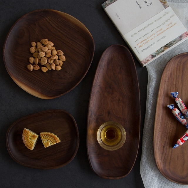 Wooden Entire Dessert Plates Irregular The Afternoon Tea Dishes Solid Wood Creativity Tableware Small Coffee Wood Dinner Plate  2