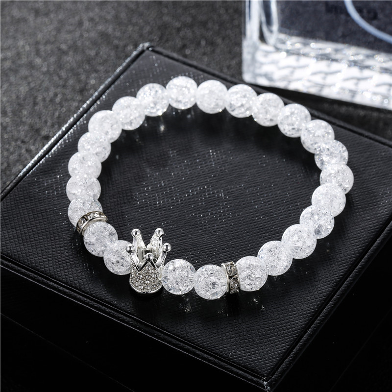 Newest White Crack Glass Stone CZ Imperial Crown Charm Bracelet For Men Women Lover Yogi Bracelet Jewelry Pulseira hombres in Charm Bracelets from Jewelry Accessories