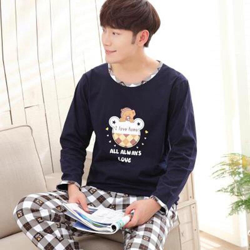 Yidanna cotton pijama set for men Tshirt O-neck plus size underwear long sleeved pajama sleepwear clothing winter nightwear male