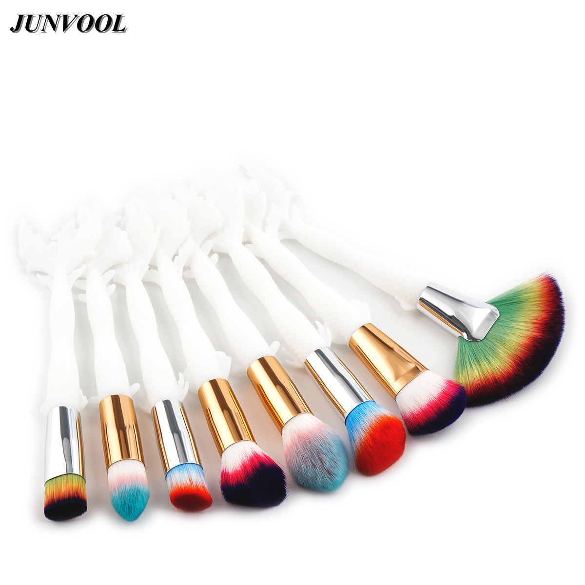 Fish Tail Professional Makeup Brushes Milky Handle Eye Shadow Eyebrow Lip Eye Make Up Large Brush Comestic Tool Color Nylon Hair g056 professional makeup brush weasel hair ebony handle make up eyeshadow brushes cosmetic tool angled eye nose shadow brush