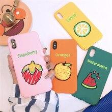 Забавный фрукты телефона чехол для iPhone X 8 плюс 7 plus 6s плюс милые чехол мультфильм Карамельный Цвет Жесткий ПК все включено «, задняя крышка Fundas
