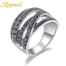 Ajojewel Новое мужское черное кольцо с крестом стразы женские