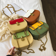 Fashion Ladies Yellow Flap Small Messenger Bag Chain Clutch Bag Contrast Designer Handbags Crossbody Bags for Women 2019