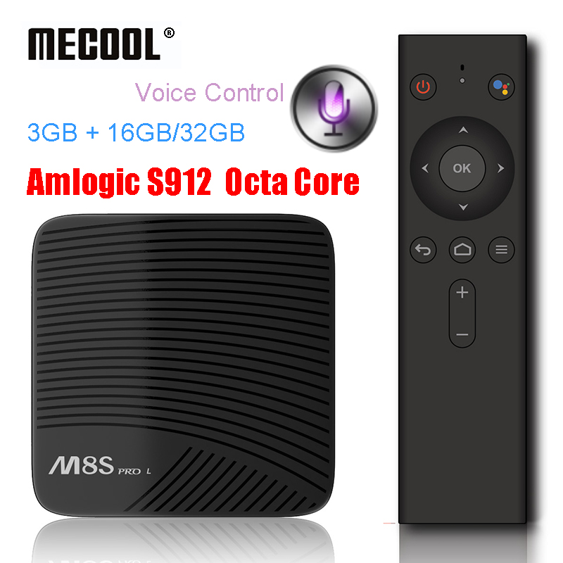 MECOOL M8S PRO L Voice Control Smart TV Box Android 7.1 Amlogic S912 Octa Core 3GB 16GB 32GB Set top Box Dual WiFi Media Player