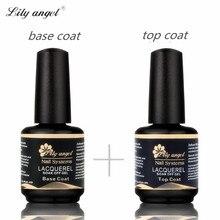 LiLy angel, 15 мл, 2 шт., хорошее качество, Набор лаков для ногтей, Базовое покрытие+ верхнее покрытие, набор, грунтовка для ногтей, впитывающий УФ-гель