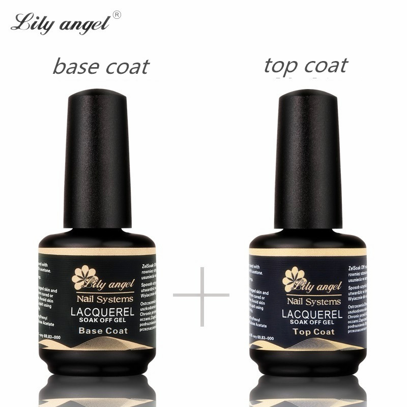 LiLy angel 15ml 2pcst Good quality Nail polish set base coat+Top coat nail primer soak off UV gel
