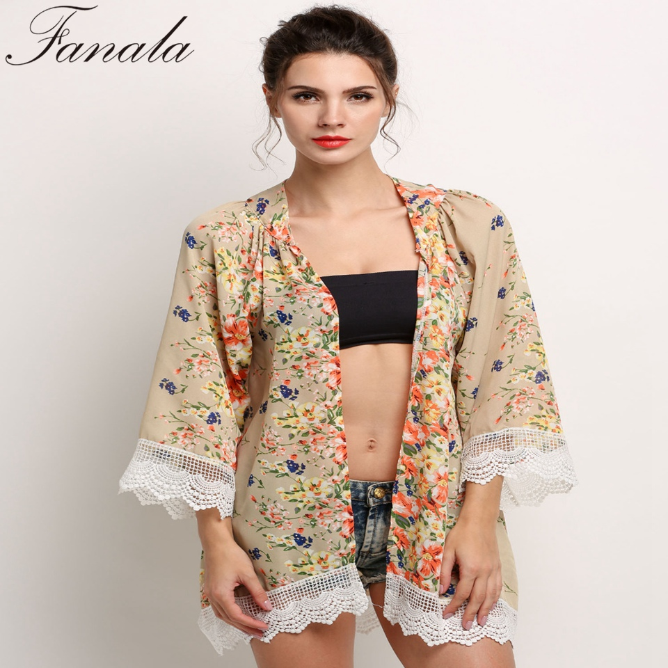 Summer Blouses Floral Pattern Printed Lace Kimono Cardigan 2017 ...