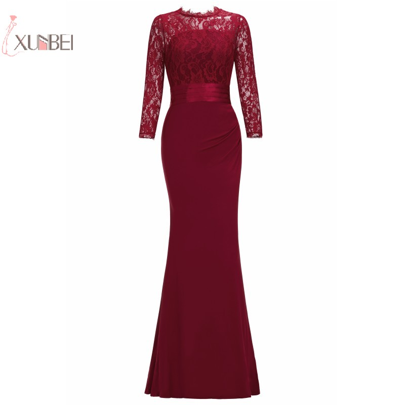 Elegant 2019 Mermaid Long   Evening     Dress   Scoop Neck Three Quarter Sleeve   Evening   Gown robe de soiree