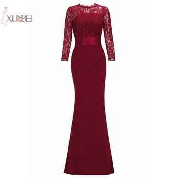 Elegante 2019 sirena vestido de noche largo cuello redondo manga tres cuartos traje de noche