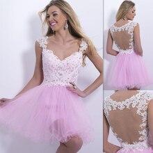 2016 elegantes V-ausschnitt a-linie Perlen Schößchen Spitze Weiß Cocktailkleider Kurze Mini Über Knie Länge Sexy Backless Rosa Party Kleid