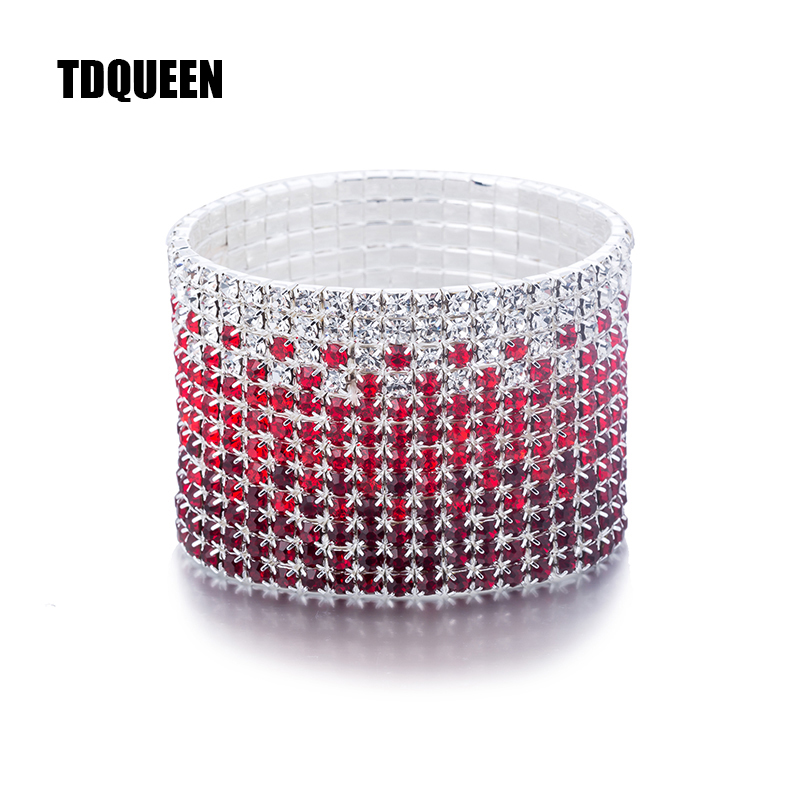 12 Rows Red and Clear Crystal Combination Wedding Bracelet Silver Plated Bridal Jewelry Rhinestone Stretch Bangles Bracelet (2)