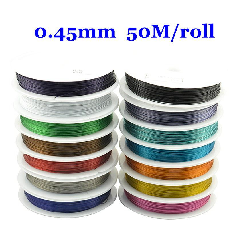 Free Shipping 1rolls/lot Tiger Tail Beading Steel Wire 0.45mm 50M Pick For Jewelry Making DIY