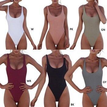 Thong 2020 Sexy One Piece Swimsuit Solid Female Black Swimwear Women Backless White Brazilian Monokini Bathing Suit XL 8