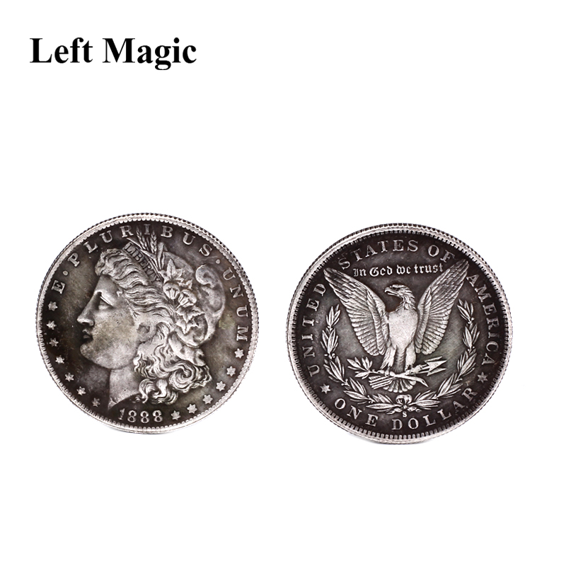 1 Pcs Steel Morgan Dollar (3.8cm Dia) Magic Tricks Can Be Sucked Props Accessorie Used Appearing/Disappearing Coin Magie  B1001