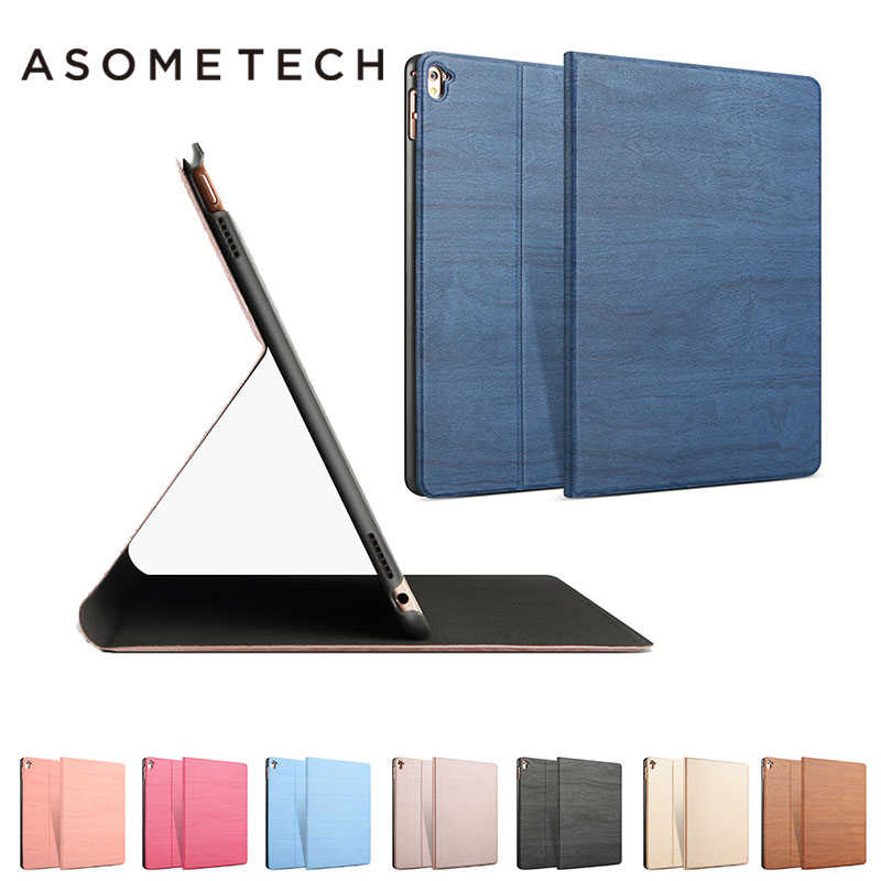 все цены на For Apple iPad Pro 9.7 PU Leather Slim Smart back Case Wood Grain Auto Sleep/Wake For iPad Pro 9.7 inch free gift Stand Cover онлайн