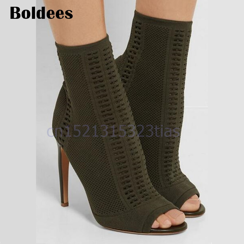 Black Stretch Open Toe Weave Sock Booties Women Shoes Ankle Boots Cut Out High Heels Shoes Pumps Woman Botines Mujer